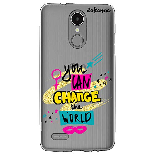 dakanna Funda para LG K8 2017 - K4 2017 | Frase Motivacion You Can Change The World | Carcasa de Gel Silicona Flexible | Fondo Transparente