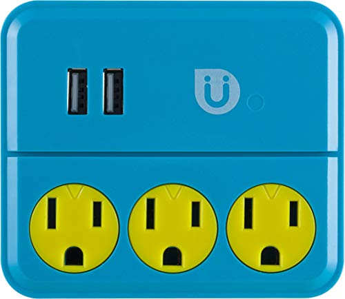Uber Power Tap Charging Station, 3 Grounded Outlets, 2 USB Charger Ports, 2.1A, 3 Prong, Phone Holder, Perfect Outlet Extender for Kids Rooms, Twist-to-Close Safety Covers, UL Listed, Blue/Yellow, 25114