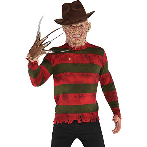 amscan Freddy Krueger Deluxe Sweater Halloween Costume for Adults, A Nightmare on Elm Street, Large/Extra Large