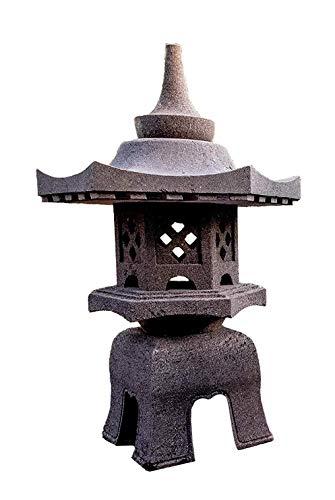 IDYL Lavastein Stein Laterne Yukimi Gata | Höhe 90cm | frostfest | Asiatische Garten Dekoration | massives Naturprodukt | Handarbeit | Wintergarten | schwarz