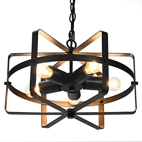 COSTWAY Deckenleuchte antik Kronleuchter Deckenlampe Retro Industrie Lampe Vintage Metall Ideal für Wohnzimmer E27