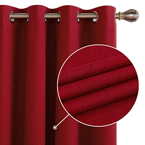 Deconovo Linen Effect 100% Blackout Curtains Drapes Panels Thermal Insulated Eyelet Nursery Curtains for Living Room with Coating Back Layer 46 x 54 Inch Red 2 Panels