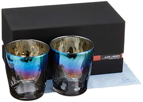 PROGRESS ロックグラス チタンミラー 日本製 ウィスキー ワイン 焼酎 ハイボール お酒がまろやかに クロス付 Infinite (Glow) 2個セット