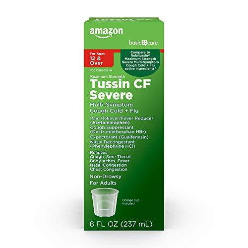 Amazon Basic Care Tussin CF Max, Multiple Symptom Cough Cold & Flu,...