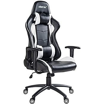 Amazon Com Merax Pp036128kaa High Back Gaming Chair With Lumbar Support And Headrest Home Kitchen