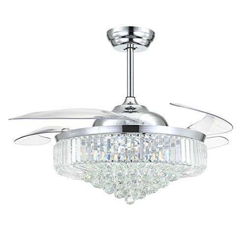Moooni 52' Dimmable Crystal Chandelier Ceiling Fan with...