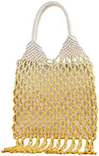 SODIAL Handmade Cotton Woven Womens Handbags and Purses Hollow Rope Tassel Beach Female Net Straw Tote Evening Clutch Bags Yellow