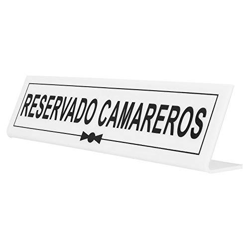 García de Pou Placa Reservado camareros, Metacrilato, Blanco, 26 x 5+5 Cm