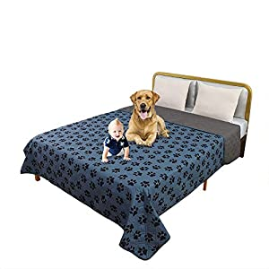 TTLUCKY Waterproof Dog Blanket with Paw Design Resuable Couch Cover, Reversible Incontinence Underpad Bed Cover,Washable Soft Furniture Protector Cover for Kids Pet Puppy (82 X 82 in,Navy Blue)