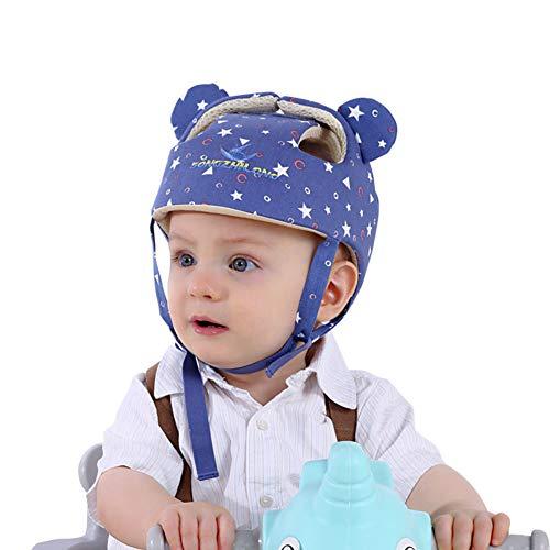 Casco de seguridad ajustable para bebé Protector para la cabeza Arnés de protección Sombrero Proporciona un entorno más seguro al aprender a gatear Jugar a pie (Estrella azul) ⭐