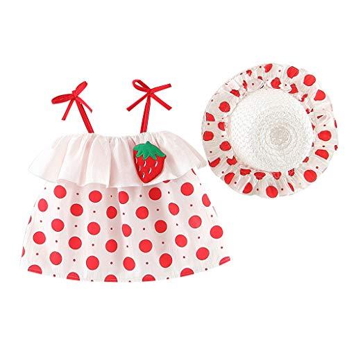 Baby Dresses Newborn Girls 18-24 Months White Toddler Baby Kids Girl Sleeveless Strap Dot Cherry Print Princess Dresses Hat Ramadan Festival 4th of July Gifts