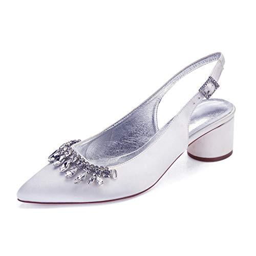 Señoras Puntiagudos Zapatos De Tacón Alto Zapatos De Tacón Cruz Correa De Satén De Novia Banquete De Boda,Blanco,39