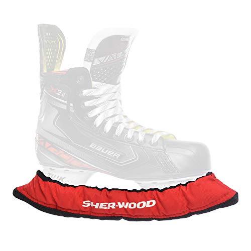SHER-WOOD - Senior Pro Eishockey elastische Kufenstrümpfe für Eishockey- & Schlittschuhe, 2 Stück, rot