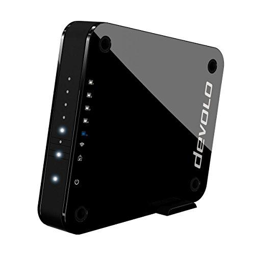 devolo GigaGate WLAN Bridge Einzeladapter (2 Gbit/s, 1x Highspeed Gigabit Port, 4x Fast Ethernet Ports, Verbindung per 5GHz-Band, Highend-Multimedia-Erlebnis, AES Verschlüsselung) schwarz