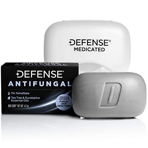 Defense Antifungal Medicated Bar Soap | Intensive Treatment for Athlete's Foot Fungus and Fungal Infections of The Skin (One Bar with Snap-Tight Case)