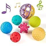 CubicFun 6 PCS Baby Sensorisches Spielzeug und 1 PC Rassel Bälle, Baby Sensorik Ball Spielzeug für Ab 0 3 6 9 12 Monaten (Mehrfarbig)