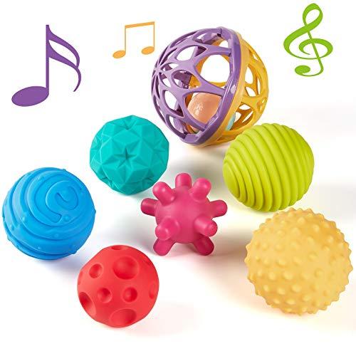 CubicFun Bolas Sensoriales para Bebés Juguetes Bebe 6 Meses a 1 año Multi Textura Pelota Sonajeros Bebe Infantil Pelotas de Masaje Mordedor sin BPA con Sonido, 7 Piezas