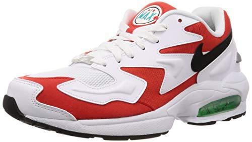 Nike Air Max2 Light, Scarpe da Atletica Leggera Uomo, Multicolore (White/Black/Habanero Red/Cool Grey 101), 42.5 EU
