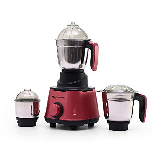 Wonderchef Sumo Mixer Grinder-600W With 3 Jars And Anti-Rust Stainless Steel Blades, Ergonomic Handles, 5 Years Warranty On Motor, Red And Black