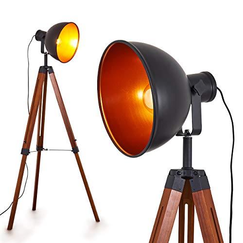 Stehlampe Jupiter, Vintage Stehleuchte aus Holz mit Lampenschirm in Schwarz aus Metall, E27-Fassung, max. 40 Watt, verstellbare Bodenleuchte im Retro-Design, auch geeignet für LED Leuchtmittel