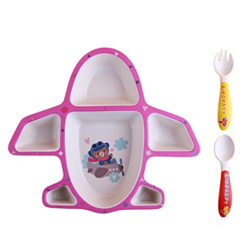Homyl Set de Bébé Assiette Vaisselle Nourrir Enfant Diviseur Plats - Rose