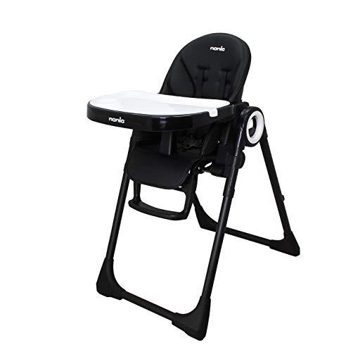 Nania Chaise haute CARLA inclinable, réglable en hauteur 7 positions, pliage compact gain de place - facile d'entretien - black