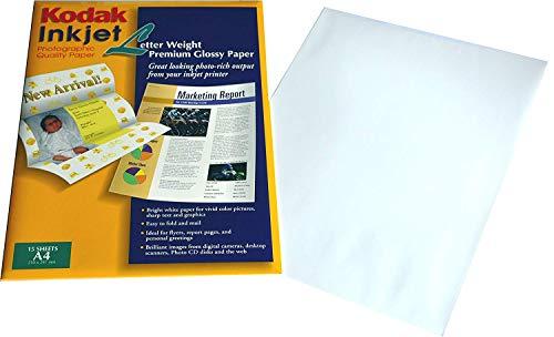 Kodak Premium Fotopapier glänzend für Tintenstrahldrucker, ideal für Kataloge, Präsentationen, Buchstaben Auguri, 15 Blatt Format A4 21 x 29,7 cm