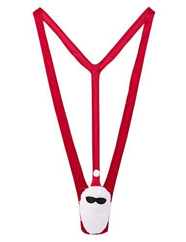 IEFIEL Mankini de Navidad para Hombre Sexy Ropa interior Tangas de Terciopelo G String Disfraz Erótico Traje de Navidad Halloween Cosplay Rojo Large