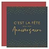 popcarte 16 Cartes Invitation Anniversaire et Fête avec 16 Enveloppes Rouges • Format 14x14 cm • Verso Vierge pour écrire • Elégance Pois Effet Doré