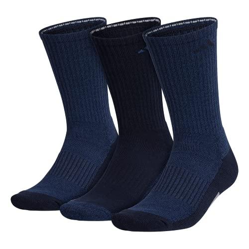 adidas mens Cushioned X 3 Crew Socks (3-Pair), Night Marine Blue Legend Ink Blue Grey , Large