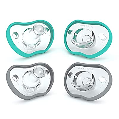 Nanobebe Baby Pacifiers 3+ Months - Orthodontic, Curves Comfortably with Face Contour, Award Winning for Breastfeeding Babies, 100% Silicone - BPA Free. Baby Registry Gift 4pk,Teal/Grey by Nutrits ltd