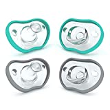 Nanobebe Baby Pacifiers 3+ Months - Orthodontic, Curves Comfortably with Face Contour, Award Winning for Breastfeeding Babies, 100% Silicone - BPA Free. Baby Registry Gift 4pk,Teal/Grey