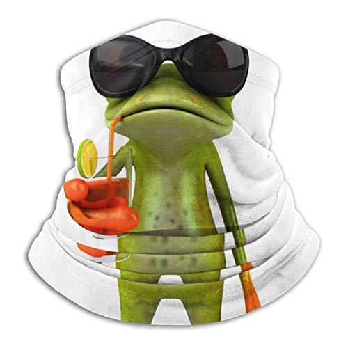 Towel&bag Divertida rana con gafas para beber, unisex, de microfibra, resistente al viento, a prueba de polvo, protección UV, polaina para el cuello, color negro