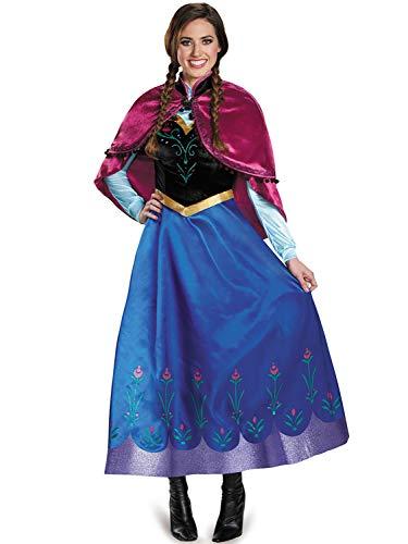 FStory&Winyee Damen Kostüm Karneval Eiskönigin Prinzessin Anna Kleid Blau mit Umhang Rosa Erwachsene Cosplay Kleid für Fasching Verkleidung Party Rollenspiel S-XXL