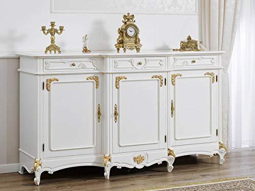 Simone Guarracino Buffet servante Arabella Style Baroque Décapé Ivoire et Feuille Or 3 Portes 3 tiroirs