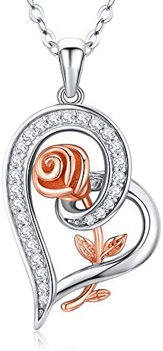 DESIMTION Necklaces Gifts for Wife from Husband 925 Sterling Silver Love Heart Rose Anniversary product image