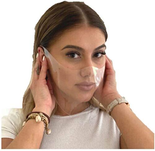 Technomask Transparente Gesichtsmaske - Durchsichtiger Mund Nasenschutz, Wiederverwendbare Klarsichtmaske, Weiches Material, Keine Druckstellen, Leichtes Atmen (Ohne Klettverschluss, Medium (14 cm))