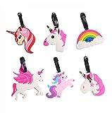 Paquete de 6 Etiqueta Maleta, Etiquetas de Equipaje de Unicornio de Plástico, Etiqueta de Equipaje de Dibujos Animados con Etiqueta de Nombre para Identificar el Equipaje y Las Mochilas al Viajar