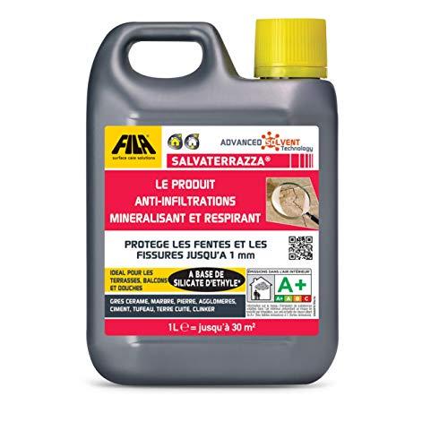 FILA Surface Care Solutions Salvaterrazza, Hydrofuge Transpirant pour Terrasses Couvertes/Découvertes, Anti-infiltration à Effet Minéralisant, 1 L