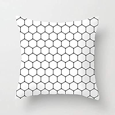 Black and White Throw Pillow With Geometric Honeycomb Design