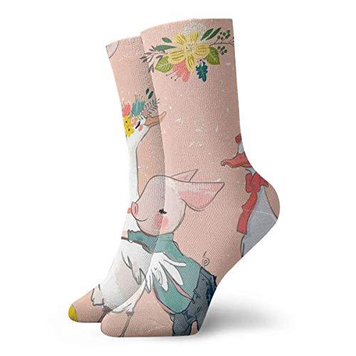 Lustige Socken Kollektion mit Schweinchen und Ente Bedruckt Sport Athletic Socks 30Cm Lang Personalisierte Geschenksocken