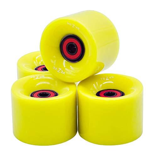 VEZVE 60mm Classic Skateboard Wheels Set of 4 Include 8PCS ABEC 7 Bearings Mounted Yellow