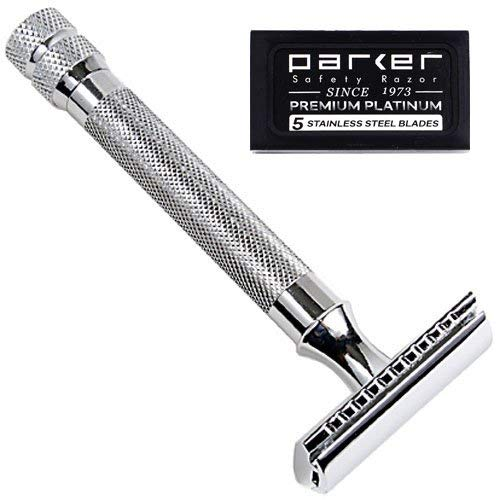 Parker 91R Super Heavyweight Double Edge Safety Razor & 5 Blades