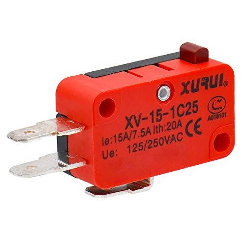 Heschen Mikroschalter V-15-1C25 SPDT Tastentyp 20A 250VAC, 2er Pack