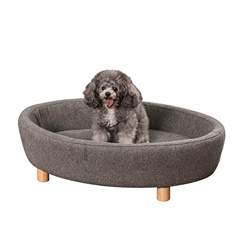 Pawhut Hundesofa Haustiersofa Oval morderne Gebürstetes Stoff für mittelgroßen Hunde und Katzen 81 x 61 x 24 cm Dunkelgrau