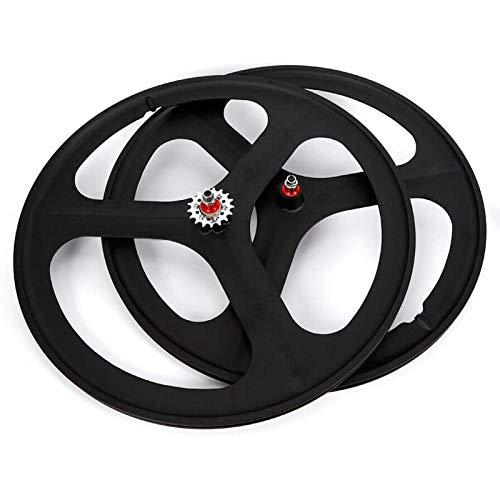YSHUAI Bicycle Bike Wheel, 700C Fixed Gear Wheels, 26' MTB Bike Mag Wheel Set 3 Spoke Rim Single Speed Front Rear Fixie Bicycle Wheels Track Wheel Clincher Type Bike Wheel,(Front & Rear) Black