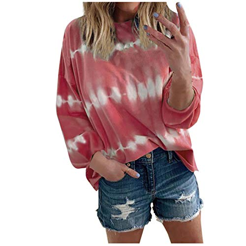 WYZTLNMA Women Casual Sweatshirts Plus Size Women Loose Tie Dye Sweatshirt O-Neck Long Sleeves Blouse Tops Streetwear Red