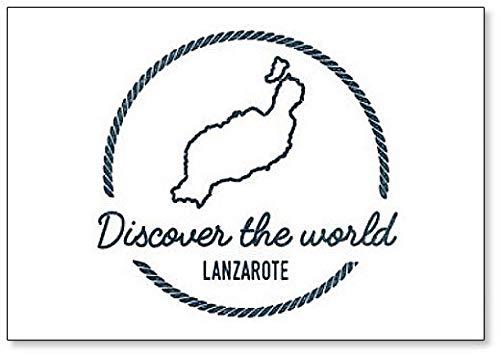 Ontdek de wereld, Spanje Lanzarote Map Outline - Klassieke Koelkast Magneet