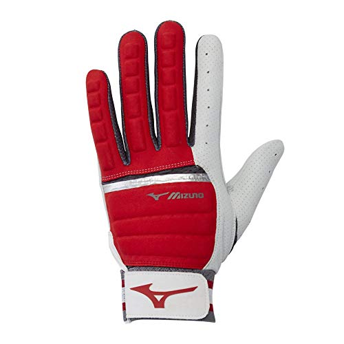 Mizuno B-130 Adult Baseball Batting Glove, Red-Charcoal, X-Large