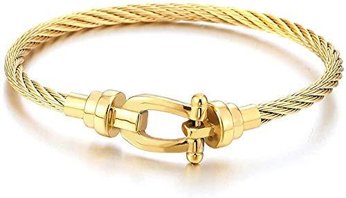 NC188 Acero Inoxidable Color Dorado Cable Trenzado Ancla grilletes Brazalete Pulsera para Mujeres Hombres